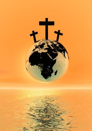 Tres cruces para Gólgota sobre el planeta tierra por sunset Foto de archivo