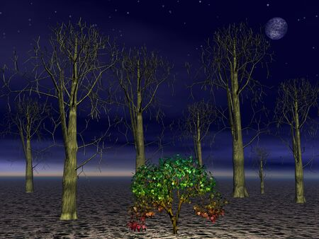 alive: Small green tree alive among big dead forest trees by night with full moon