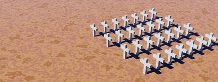 Aerial view of many white crosses in a desert photo
