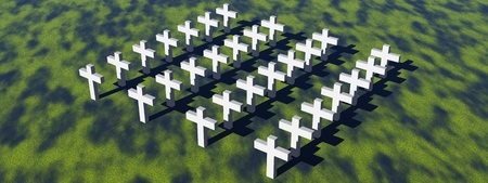 decease: Aerial view of many white crosses in a grassland Stock Photo
