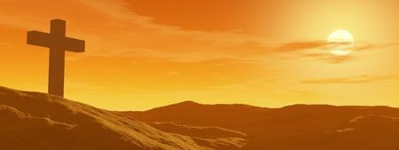 Single cross in the desert by sunset