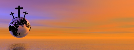 hopeful: Three crosses for Golgotha on earth planet by sunset Stock Photo