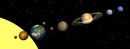 Solar system planets and stars by night photo