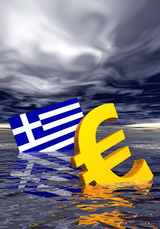 greek flag: Ill euro symbol and greek flag drowning in the ocean by stormy weather Stock Photo