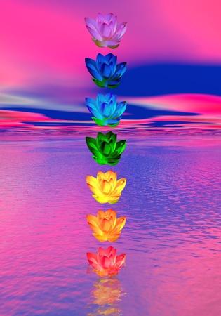 chakras: Colores de los chakras de la flor de lirio en una columna al oc�ano en el fondo de color rosa y azul Foto de archivo
