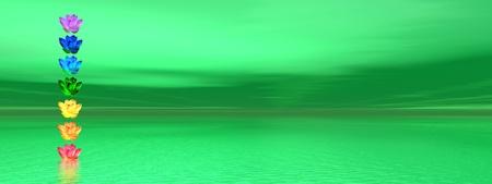 chakras: Colores de los chakras de la flor de lirio en una columna situada en mar de fondo verde