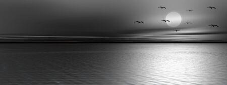 Les oiseaux qui volent en face de la pleine lune sur l'océan par nuit tranquille Banque d'images