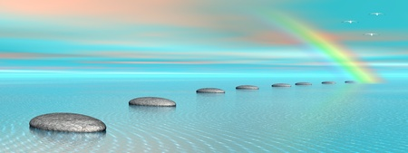 3d rainbow: Grey stones steps upon the ocean going to a rainbow and birds flying next to it
