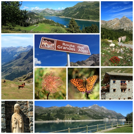 Nature, fauna, flora and architecture on the big Alps road, France photo