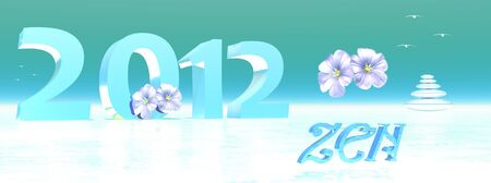 2012 bywinter surrounded by zen flowers and birds Stock Photo - 11690426