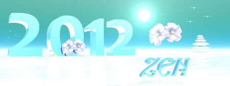 2012 by sunny winter surrounded by zen flowers and birds Stock Photo - 11690424