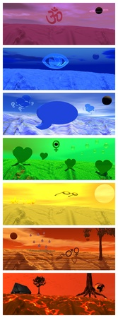 chakras: Conjunto de paisajes de color que representan los s�mbolos de cada uno de los chakras Foto de archivo