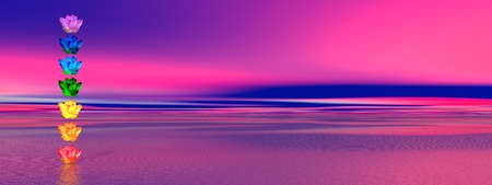 Chakra colors of lily flower in a column upon ocean in pink and blue background photo