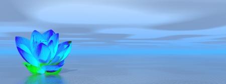 Blue lily flower in ocean to symbolize fifth chakra Zdjęcie Seryjne