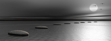 Grey stones steps upon the ocean going to the moon and birds by night