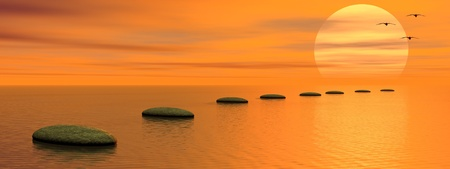 Grey stones steps upon the ocean going to the sun and birds by sunset photo