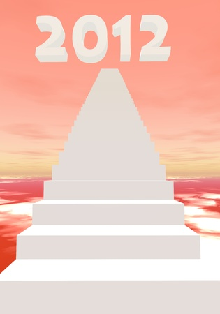 White stairs leading to 2012 in a colored background Stock Photo - 11690437