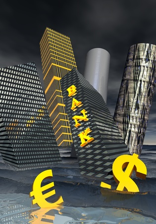 floating market: Bank building and financial skyscrapers next to dollar and euro currency drowning in the ocean to symbolize financial crisis Stock Photo