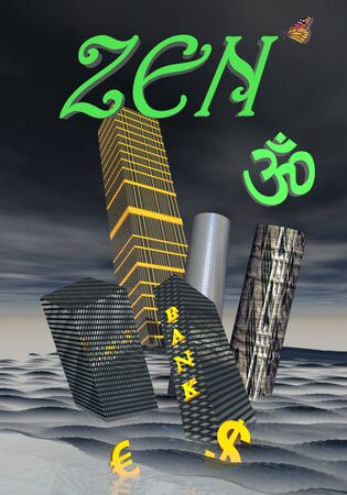 3d aum: Zen and aum upon bank building and financial skyscrapers next to dollar and euro currency drowning in the ocean to symbolize financial crisis