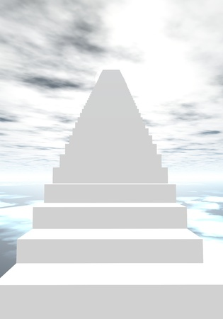 stairway to heaven: White stairs going to the cloudy sky