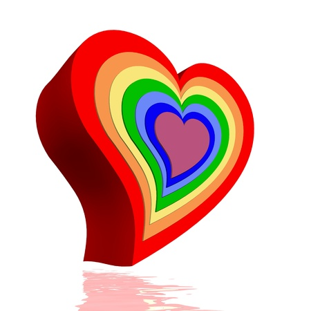 heart chakra red: Colorful hearts for each chakra in white background Stock Photo