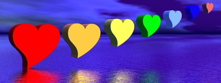 Heart for each color chakra upon water by night photo
