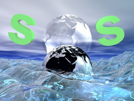 environmental disaster: Green SOS for drowning earth in the waves of the ocean Stock Photo