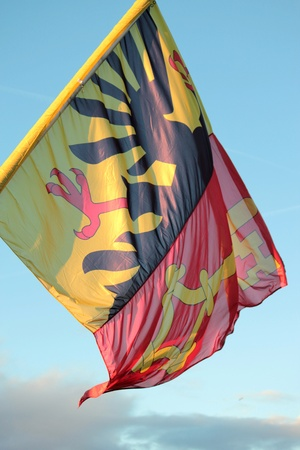 Geneva flag in the wind, Switzerland photo