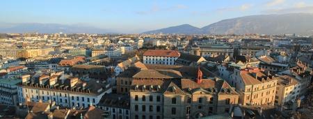 geneva: Panoramic view on Geneva city and Saleva mountain, Switzerland