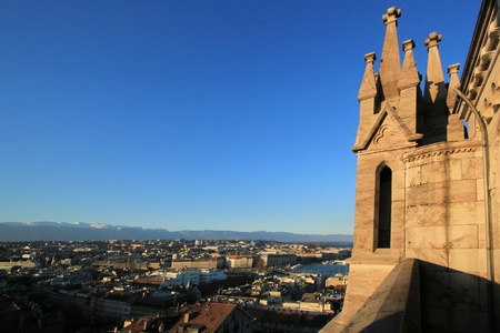 View on Geneva city and Jura mountain from  a tower of Saint-Peter cathedral, Switzerland Stock Photo - 12270196