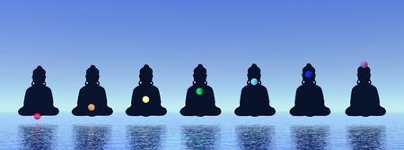 kundalini: Sette chakras in meditazione a sfondo blu