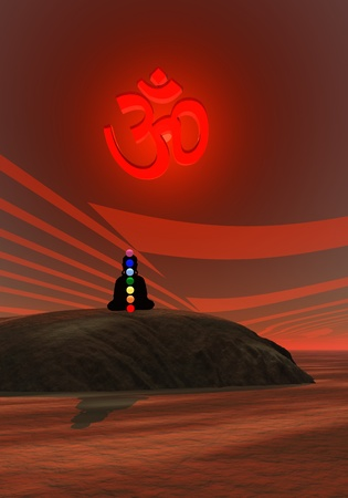 Shadow in meditation with chakras and aum photo