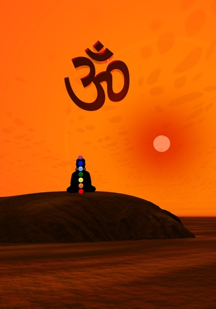 Shadow in meditation with chakras under aum by sunset