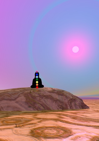 anja: Shadow in meditation with chakras by violet sunset