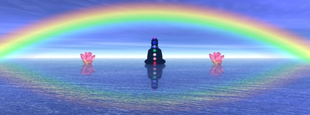 manipura: Shadow in meditation with chakras next to two waterlilies, on the ocean and under a big beautiful rainbow