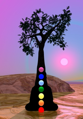 anja: Meditation and chakras under by tree by violet sunset Stock Photo