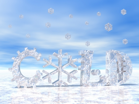 Cold letters with snow symbol instead of O letter and snow falling Stock Photo