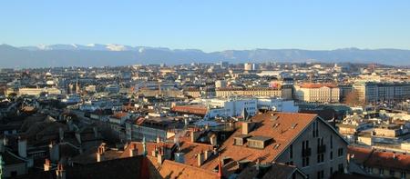 Panoramic view on Geneva city and Jura mountain, Switzerland photo