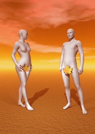 3d nude: Naked Adam and Eve qith a leaf  and orange background