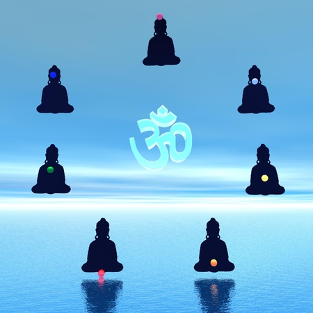 Seven chakras in meditation around a aum symbol in blue background photo