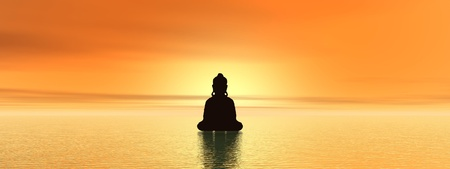 Bouddist meditating upon water at sunset time