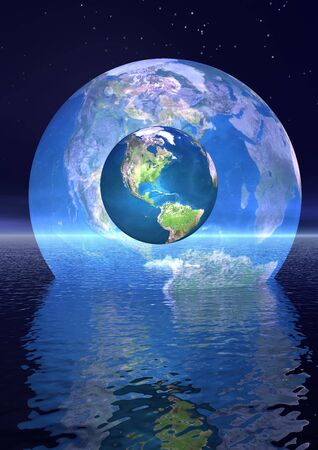 Earth and ita shadow behind upon the ocean by night Stock Photo - 12619170