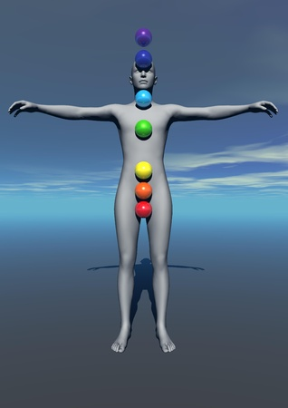 Human standing and balls with colors symbolizing chakras Stock Photo - 12619044