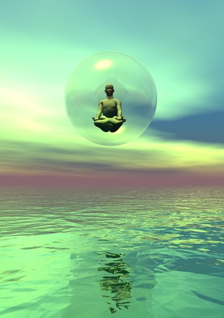 Human meditation in a bbubel over the ocean in green background photo