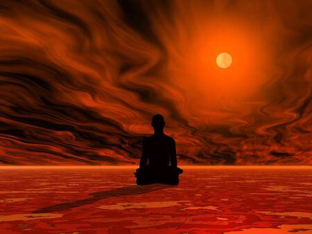 man meditating: Man meditating on red ground in front of burning sun