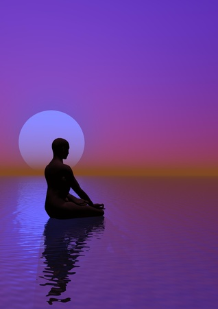 Human meditation upon ocean next to the moon by beautiful violet background light