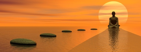 zen stone: Steps over the ocean  to meditating man in front of the sun by beautiful sunset