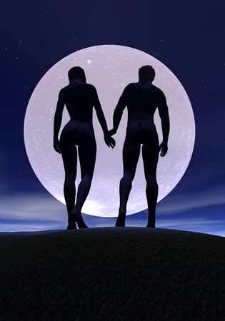 Lovers couplewalking toward a beautiful full moon by night photo