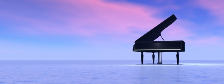 Piano standing alone in the nature by pink and blue sunset byckbround