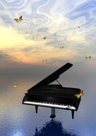 Black piano upon the ocean and surrounded with lots of beautiful butterflies